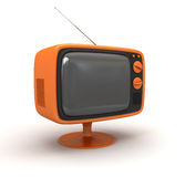 Tv. Retro carton orange tv on white back