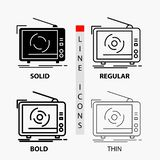 tv, ad, advertising, television, set Icon in Thin, Regular, Bold Line and Glyph Style. Vector illustration royalty free illustration