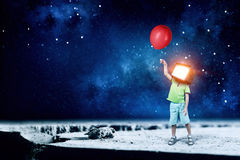 TV addicted children. Mixed media Royalty Free Stock Images
