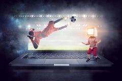 TV addicted children. Mixed media Royalty Free Stock Image