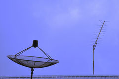 TV Aerial And Satellite Dish Royalty Free Stock Images