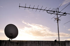 TV aerial and satellite dish Royalty Free Stock Image