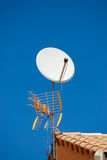 TV aerial and satellite dish. Fixed to the roof royalty free stock photo