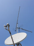 TV aerial and satellite dish Stock Images