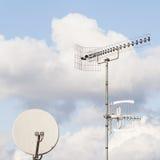 TV aerial and satellite dish Stock Photo