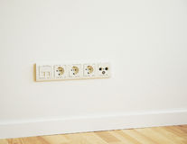 TV Aerial, Telephone and ADSL Socket and European Power in the N. Ew Flat with Wooden Floor Stock Image