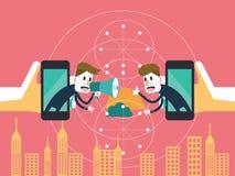 Två affärsmän meddelar på det mobila molnet affärspartnerskap och teknologibegrepp Arkivfoton