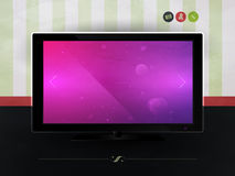 TV against the wall with wallpaper. Website Template Stock Images