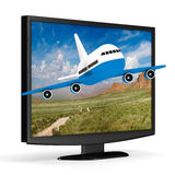TV and airplane on white background Stock Photo