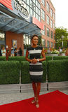 TV anchor Robin Roberts at the red carpet before US Open 2013 opening night ceremony Stock Photos