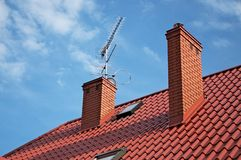 Tv antenna. Mounted on the roof Royalty Free Stock Photos