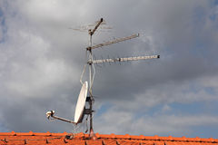 TV antenna. Antennas  to receive TV signals on the roof Stock Images