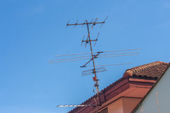 TV antenna with blue sky. Stock Photography
