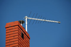 TV antenna on the chimney Stock Photos