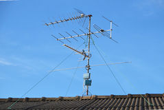 TV Antenna Installation Royalty Free Stock Photo