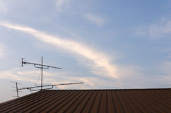 TV antenna. Old TV antenna on roof Stock Image
