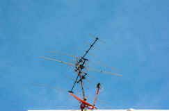 Tv antenna and Satellite dish Royalty Free Stock Image