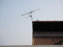 TV antenna. And sky background Royalty Free Stock Photo