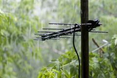 TV antenna. During the rain royalty free stock photography