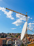 TV antennas on buildings Royalty Free Stock Photo