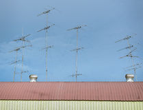 TV antennas on the roof Royalty Free Stock Image