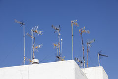 TV antennas on the roof Royalty Free Stock Photos