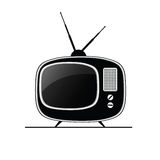 Tv antique black vector Royalty Free Stock Images