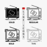 TV, anuncio, publicidad, televisión, icono determinado en línea y estilo finos, regulares, intrépidos del Glyph Ilustraci?n del v libre illustration