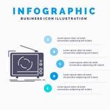 TV, anuncio, publicidad, televisi?n, plantilla de Infographics del sistema para la p?gina web y presentaci?n Icono gris del GLyph stock de ilustración