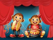 Två apor som utför på etappen Arkivfoton