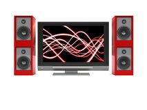 Tv and audio system. 3d illustration of audio-video system over white background Royalty Free Stock Photo