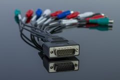 Tv audio video cable connector on black stock image