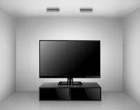 TV avec le support de TV dans une chambre Photographie stock
