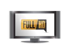TV avec plein HD. Haut bouton de définition. illustration libre de droits