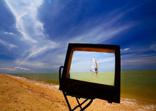 TV on beach Royalty Free Stock Photography