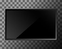 TV blank screen. TV screen on transparent background. Lcd or led display, computer monitor. Vector illustration Stock Photography