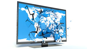 TV with blue Earth on display. White background Royalty Free Stock Photos