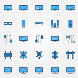 TV blue icons set Stock Image