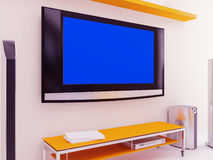 TV with the blue screen Royalty Free Stock Image