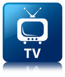 TV blue square button Stock Photography