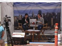 TV Booth Broadcasting Live From The Street Stock Photo