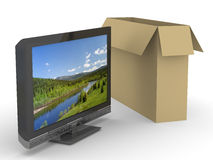 TV and box on white background Stock Image