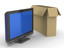 TV and box on white background Royalty Free Stock Image