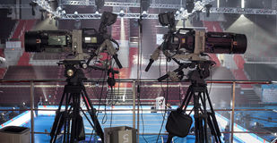 TV in the boxing championship. Video camera during a Boxing match of the  Boxing Championship Royalty Free Stock Photos