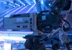 TV in the boxing championship. Video camera during a Boxing match of the  Boxing Championship Stock Image