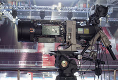 TV in the boxing championship. Video camera during a Boxing match of the  Boxing Championship Stock Photo