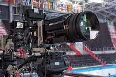 TV in the boxing championship. Video camera during a Boxing match of the  Boxing Championship Royalty Free Stock Photography