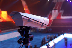 TV in the boxing championship. Video camera during a Boxing match of the  Boxing Championship Stock Photos