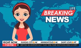 TV breaking news female in red dress in a studio Stock Images