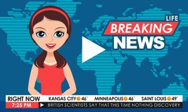 TV breaking news female in red dress in a studio Royalty Free Stock Photos